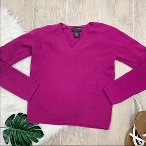 Banana Republic Pink Vneck Knit Wool Sweater D3035